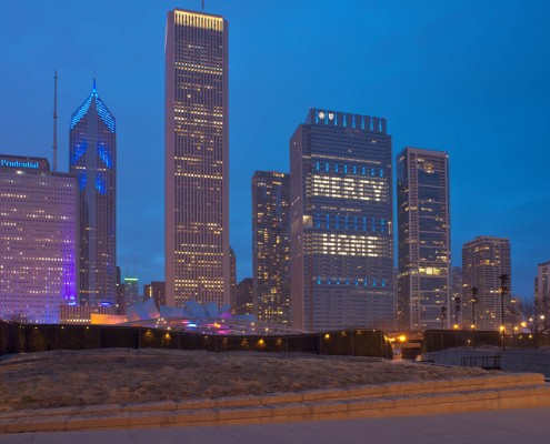 Chicago downtown evening March 12th 2016. The BCBS building illuminated to read MERCY HOME.