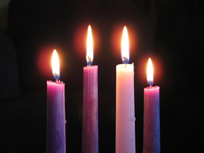Lit advent candles