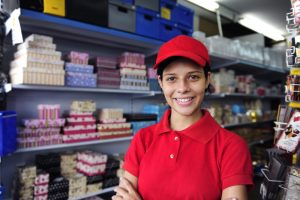 Teen girl working at her job