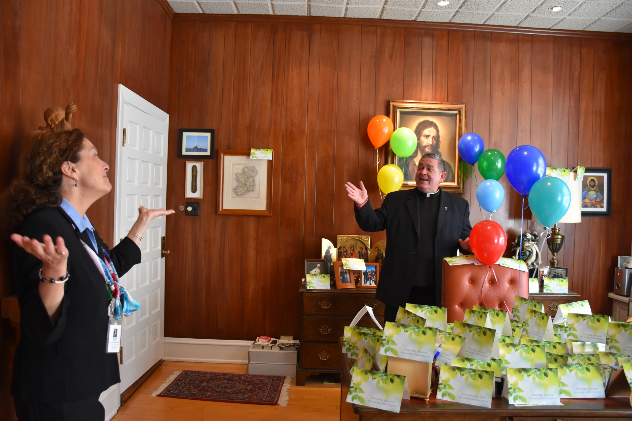 Fr. Scott's office filled with balloons and birthday cards
