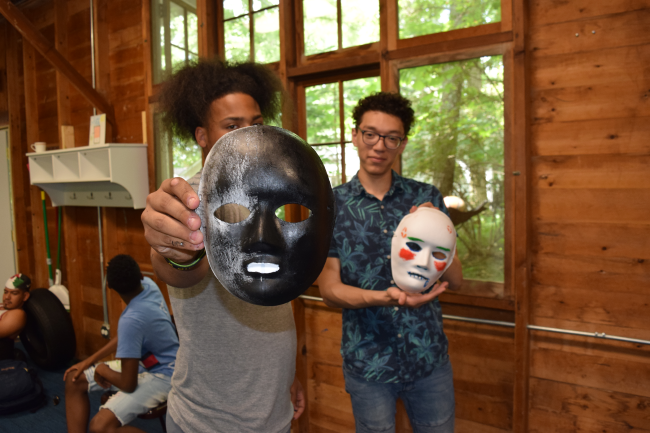 Young men with masks