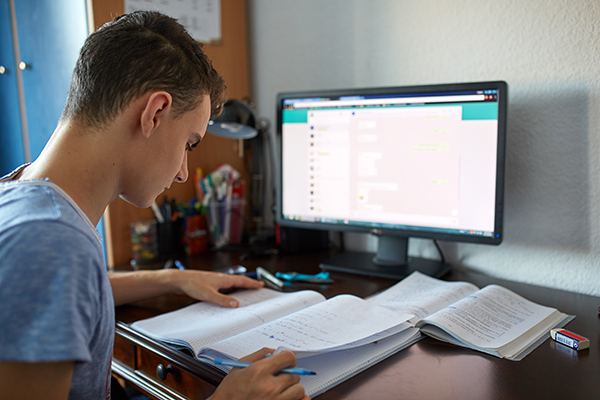 teenage student engaging in virtual learning