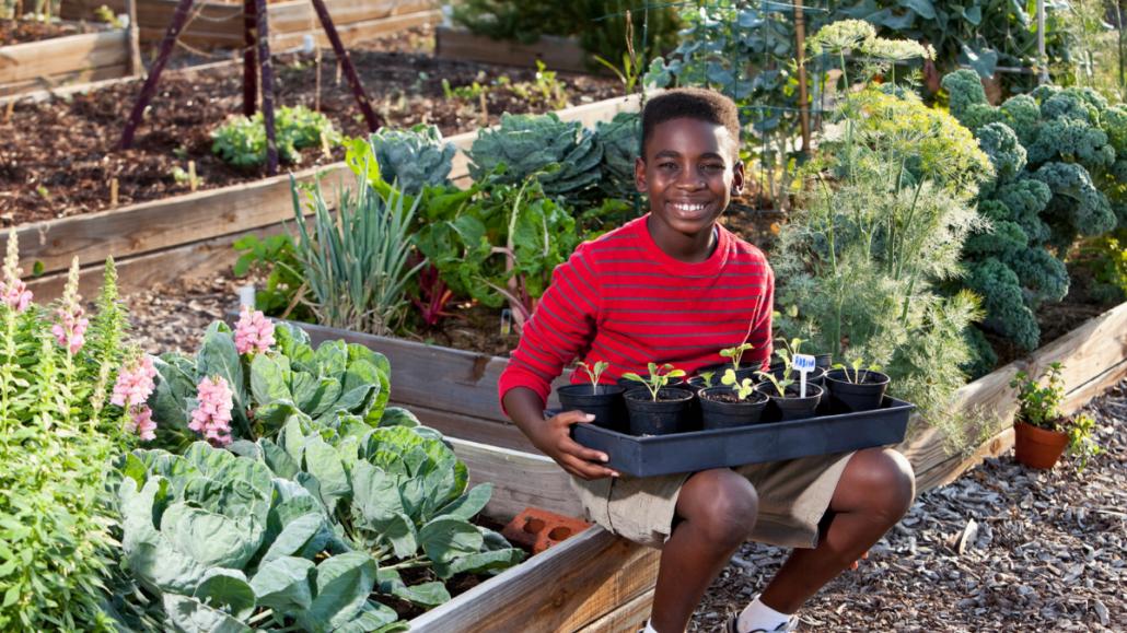 Niño joven, sentado, en, jardín, y, sonriente